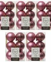 60x oud roze kerstballen 6 cm glanzende matte kunststof plastic kerstversiering