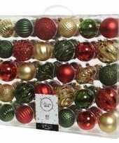 60x rode gouden groene kerstballen 6 7 cm glanzende matte glitter kunststof plastic kerstversiering 10137931