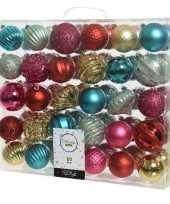 60x rode gouden groene kerstballen 6 7 cm glanzende matte glitter kunststof plastic kerstversiering