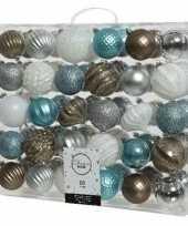 60x witte bruine blauwe zilveren kerstballen 6 7 cm glanzende matte glitter kunststof plastic kerstversiering