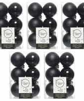 60x zwarte kerstballen 6 cm glanzende matte kunststof plastic kerstversiering