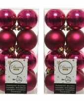 64x bessen roze kleine kerstballen 4 cm kunststof mat glans