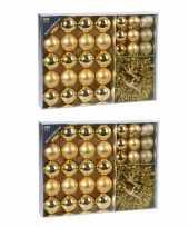 64x gouden kerstballen 4 5 8 cm en kerstslinger folieslinger matte glanzende glitters kunststof plastic kerstversiering
