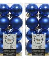 64x kobalt blauwe kleine kerstballen 4 cm kunststof mat glans