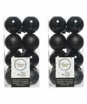 64x zwarte kerstballen 4 cm glanzende matte kunststof plastic kerstversiering