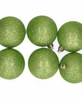 6x appelgroene kerstballen 8 cm glitter kunststof plastic kerstversiering