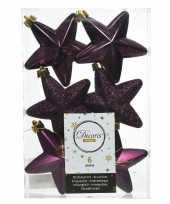 6x aubergine paarse kerstballen 7 cm glanzend matte glitter kunststof plastic kerstversiering