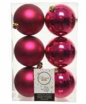 6x bessen roze kerstballen 8 cm kunststof mat glans