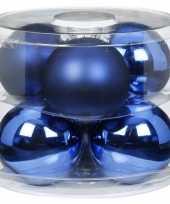 6x blauwe glazen kerstballen 10 cm glans en mat