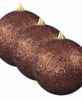 6x bruine grote kerstballen met glitter kunststof 13 5 cm