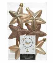6x donker parel champagne kerstballen 7 cm glanzend matte glitter kunststof plastic kerstversiering