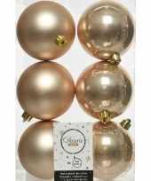 6x donker parel champagne kerstballen 8 cm glanzende matte kunststof plastic kerstversiering