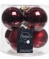 6x donkerrode glazen kerstballen 8 cm glans en mat