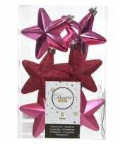 6x fuchsia roze kerstballen 7 cm glanzend matte glitter kunststof plastic kerstversiering