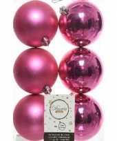 6x fuchsia roze kerstballen 8 cm glanzende matte kunststof plastic kerstversiering