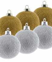 6x gouden en zilveren kerstballen 6 5 cm cotton balls kerstboomversiering