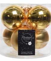 6x gouden glazen kerstballen 8 cm glans en mat