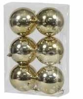 6x gouden kerstballen 10 cm glanzende kunststof plastic kerstversiering