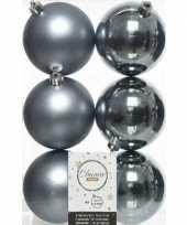 6x grijsblauwe kerstballen 8 cm glanzende matte kunststof plastic kerstversiering