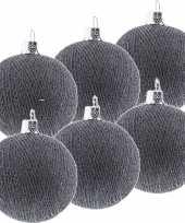 6x grijze cotton balls kerstballen 6 5 cm kerstboomversiering