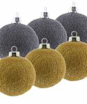 6x grijze en gouden kerstballen 6 5 cm cotton balls kerstboomversiering