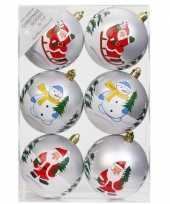 6x kerstballen wit met print 8 cm voor kinderen