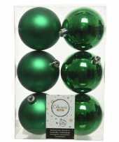 6x kerstgroene kerstballen 8 cm kunststof mat glans