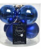 6x kobalt blauwe glazen kerstballen 8 cm glans en mat