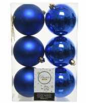 6x kobalt blauwe kerstballen 8 cm kunststof mat glans
