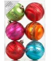 6x kunststof kerstballen gekleurd 8 cm