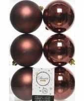 6x mahonie bruine kerstballen 8 cm glanzende matte kunststof plastic kerstversiering