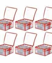 6x opbergboxen voor kerstballen 30 cm