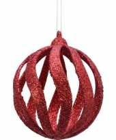 6x open kerstballen rood met glitters 8 cm kunststof