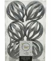 6x open kerstballen zilver met glitters 8 cm kunststof