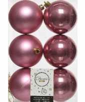 6x oud roze kerstballen 8 cm glanzende matte kunststof plastic kerstversiering