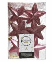 6x oudroze kunststof sterren kerstballen kersthangers 7 cm