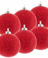 6x rode cotton balls kerstballen 6 5 cm kerstboomversiering