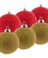 6x rode en gouden kerstballen 6 5 cm cotton balls kerstboomversiering