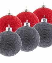 6x rode en grijze kerstballen 6 5 cm cotton balls kerstboomversiering