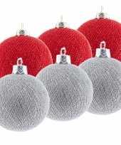 6x rode en zilveren kerstballen 6 5 cm cotton balls kerstboomversiering