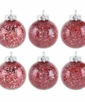 6x rode kerstballen 8 cm glitter kunststof kerstversiering