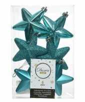 6x turquoise blauwe kerstballen 7 cm glanzend matte glitter kunststof plastic kerstversiering