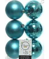 6x turquoise blauwe kerstballen 8 cm glanzende matte kunststof plastic kerstversiering