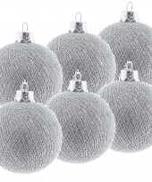6x zilveren cotton balls kerstballen 6 5 cm kerstboomversiering