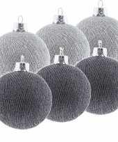 6x zilveren en grijze kerstballen 6 5 cm cotton balls kerstboomversiering