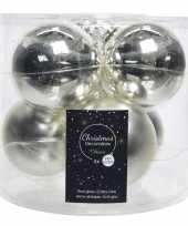 6x zilveren glazen kerstballen 8 cm glans en mat