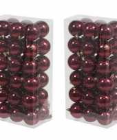 72x bordeaux rode kerstballen 6 cm glanzende kunststof plastic kerstversiering