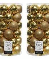 72x gouden kerstballen 6 cm glanzende matte glitter kunststof plastic kerstversiering