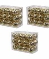 72x gouden kerstballen 6 cm kunststof plastic kerstversiering