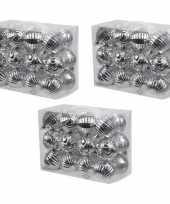 72x zilveren kerstballen 6 cm kunststof plastic kerstversiering
